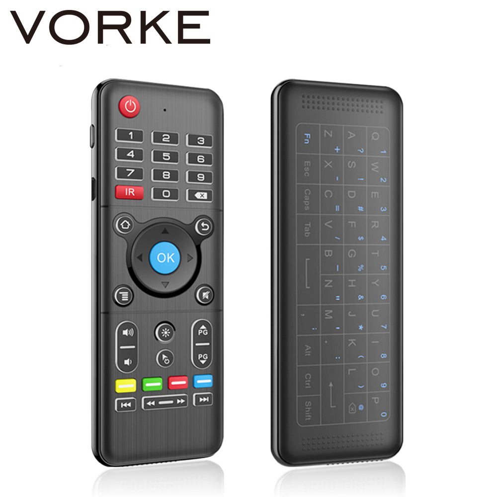 цена Vorke H1 Full Touchpad 2.4GHz Wireless Keyboard 6-Axis Gyro 2.4GHz Air Mouse with Backlight for Andriod/Windows/Mac OS/Linux