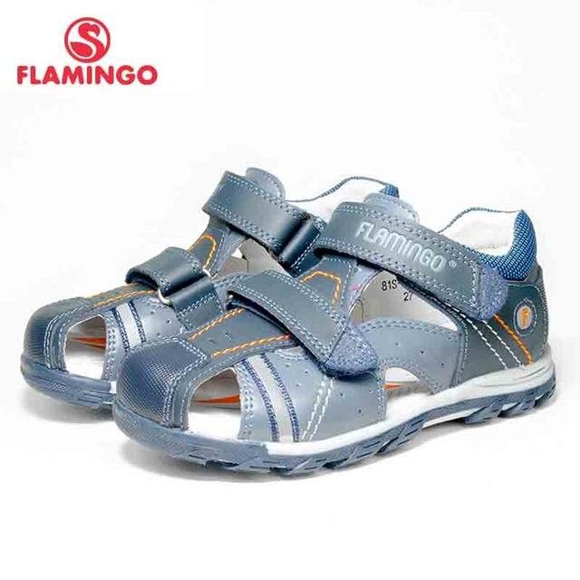 Летняя разноцветная повседневная детская обувь с рисунком фламинго на липучке, маленькие уличные сандалии на плоской подошве для мальчиков, размер 25-30, бесплатная доставка, 81S-XY-0784