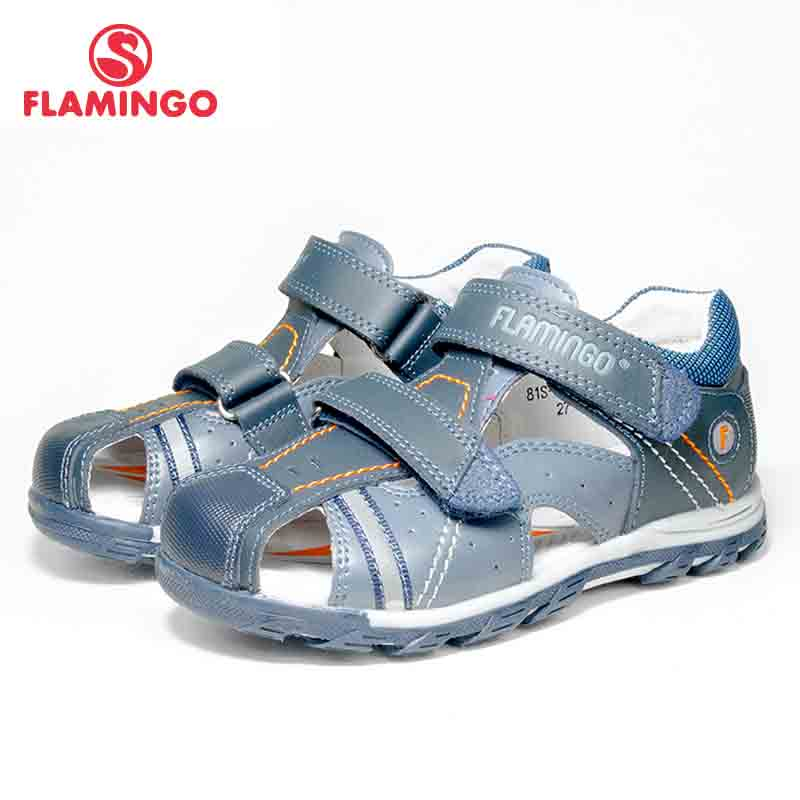 FLAMINGO Summer Hook&Loop Mixed Color Casual Kids Shoe Little Outdoor Sandals Flat For Boy Size 25-30 Free Shipping 81S-XY-0784