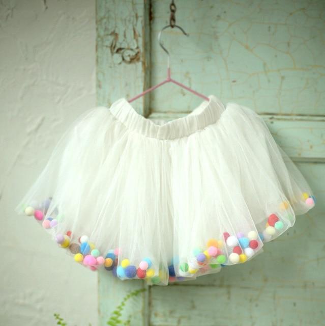 Rainbow Tutu Girls Tutu Pettiskirt Candy Color Children Mini Skirt Lace Mesh Short Multilayer Cute 2017 Baby Costume Skirt Girl
