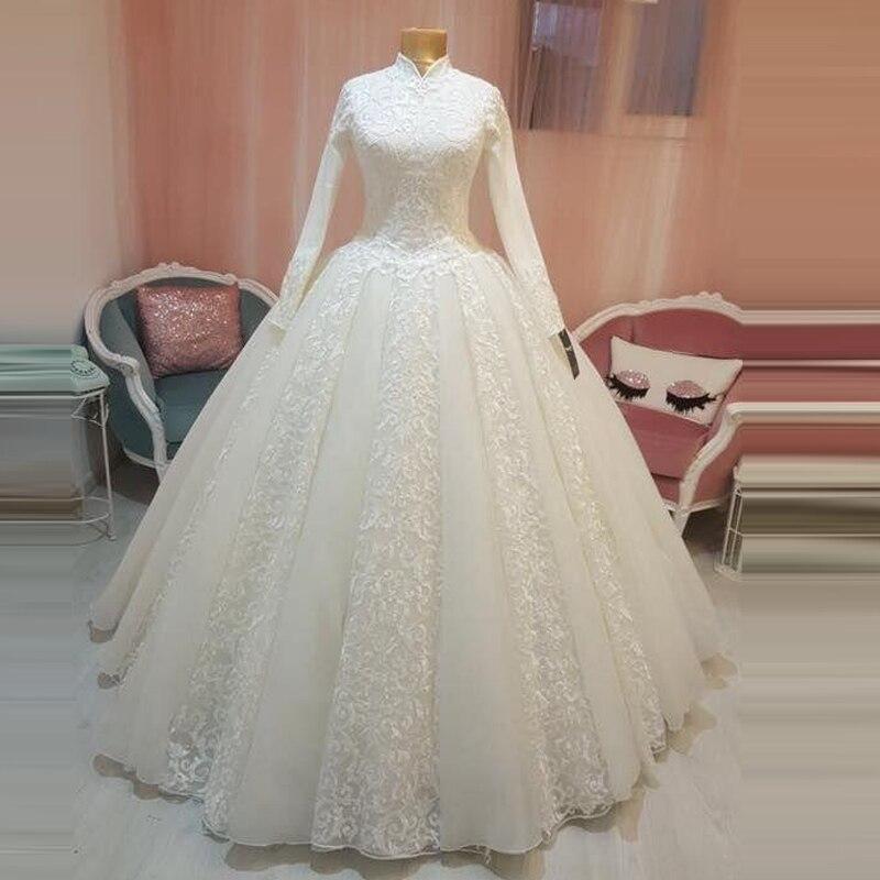 Arabic Bridal Gown Islamic Muslim Wedding Dress Arab Ball Gown Lace Hijab Long Sleeve Princess Wedding
