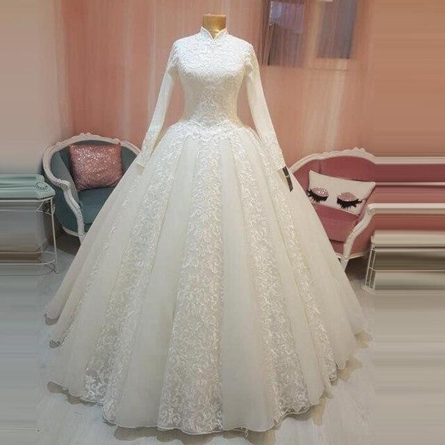 アラビア語の花嫁衣装イスラム教徒のドレスアラブ夜会服レースヒジャーブ長袖王女のウェディングドレス 2019