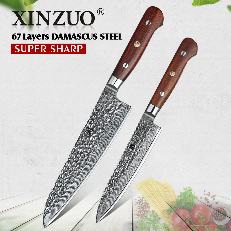 XINZUO 2 PCS Kitchen Knives Chef Set Damascus Forged Steel Chef Santoku Utility Knife Kitchen Stainless