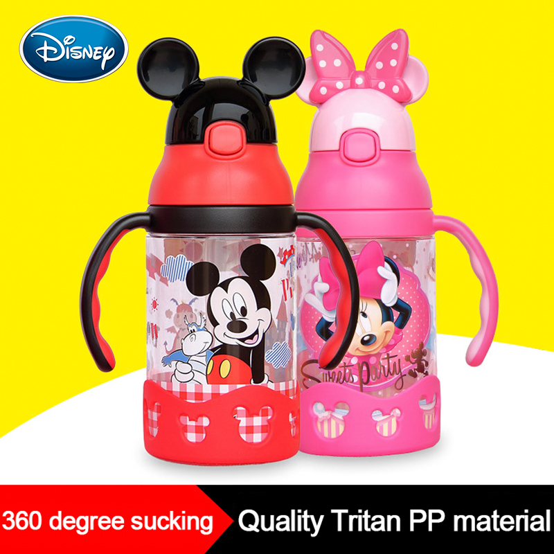 Disney Minnie Cup Children's Sippy Cup With Handle Learn To Drink Cup Baby Kettle Leak-proof Baby Drink Cup