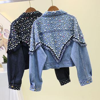 Autumn Beading Tassel Black Denim Jacket Coat Women Casual Loose Cowboy Coats Short Jeans Jackets Outwear Female Chaqueta Mujer 2