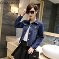 2016 Spring Wash Denim Women Short Jeans Jackets Slim Pockets Button Long Sleeve Outwear Coats Chicanary