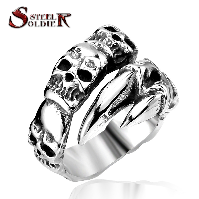 steel soldier unique Store Steel soldier New Open Skull Hand Ring Stainless Steel Man's Fashion Jewelry Biker Punk Jewelry BR8-146 US size