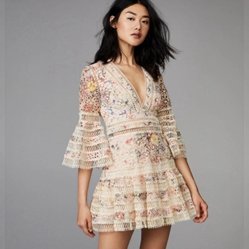d3a9c079e5539 US $32.89 30% OFF|New self portrait 2019 Women Summer fashion Designer  Runway V neck Lace Embroidery Casual party Mini Dress Female vestido-in  Dresses ...