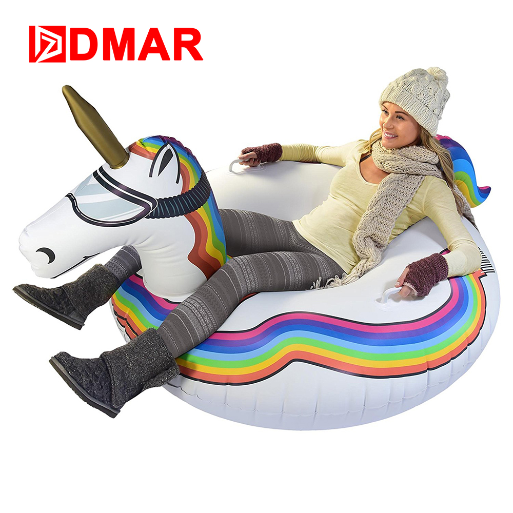 DMAR 125cm Inflatable Flamingo Unicorn Ring For Adults Skiing Ski Ring Swimming Circle Pool Float Mattress Beach Water Snow Toys 10pcs lot cold resistant pvc inflatable unicorn winter snow tube inflatable snow games toys snow tube toy