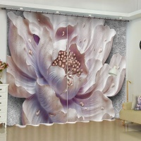 3d Flower Chinese Lotus Magnolia Blackout Curtains for Living Room Bedroom Office Home Decoration Modern Window Drapes