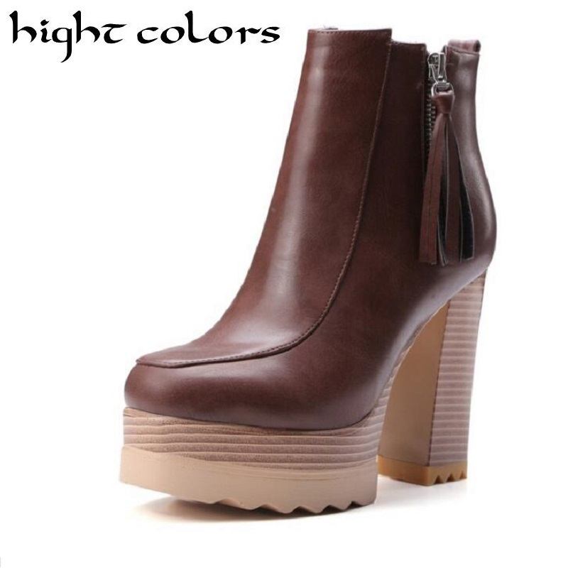 Hot Fashion Womens High Chunky Heel Lace Up Ankle Boots Thick Heel Platform Pumps Tassel Boots Shoes Solid Leather Black Brown womens punk ankle boots chunky heels platform side zip leather moto shoes woman high heel thick heel platform motrocycle boot