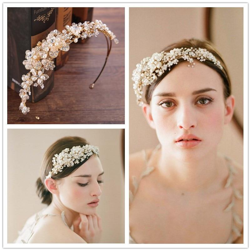 Elegant women handmade hairbands crystal women golden tiara bride wedding jewelry pearl hair ornaments party dress accessories zx 1038 elegant gorgeous rhinestone bride tiara golden size m
