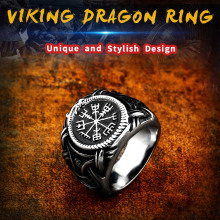 Beier 316L Stainless steel nose viking men ring Dragon Animal Pagan Odin Amulet Vegvisir scandinavian fashion jewelry LR622 beier 316l stainless steel fashion style men and women retro odin jewelry viking female amulet vintage norse rune words rings