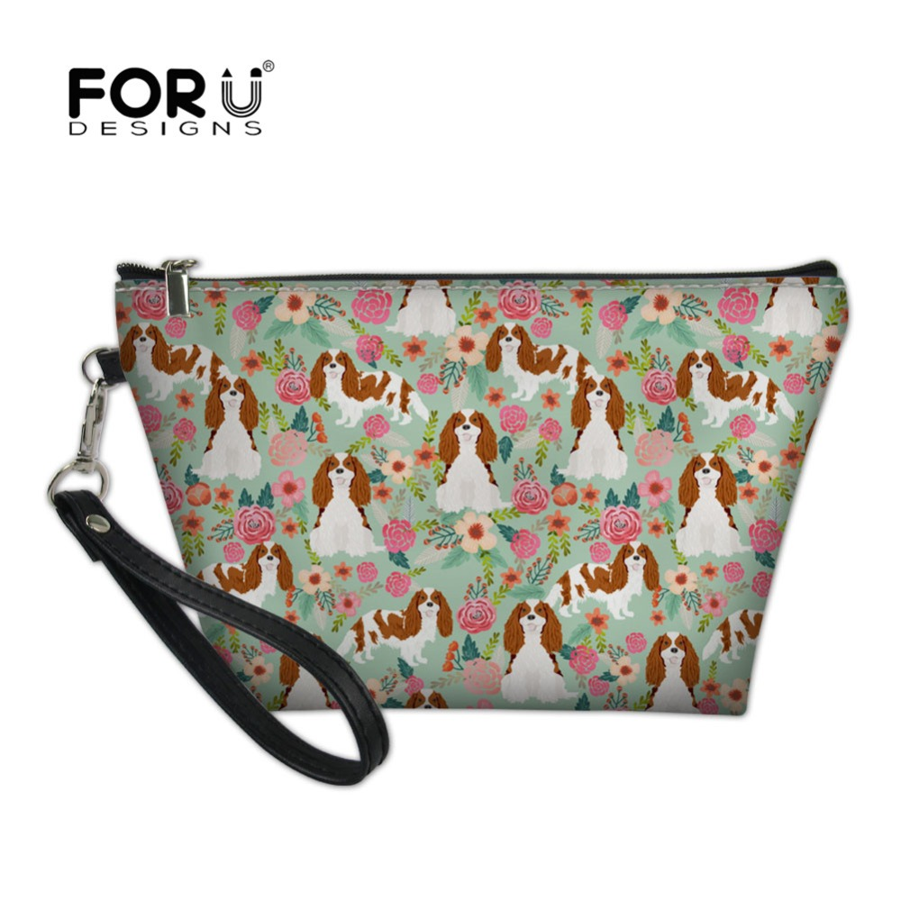 FORUDESIGNS Cavalier King Charles Spaniel Printing Cosmetic Bag For Women Makeup Bag Travel Organizer Beauty Necessaire Feminina