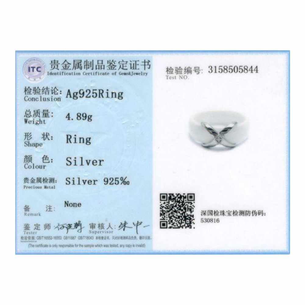 KITEAL אמיתיים טרנדי 925 סטרלינג כסף נשי אירוסין טבעת X צלב שחור/לבן קרמיקה תכשיטי אביזרי 6 7 8 RI103330