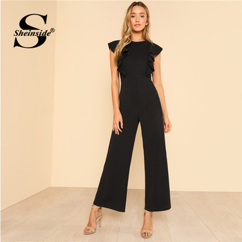 Sheinside Black Ruffle Jumpsuit Women Round Neck Sleeveless Summer Jumpsuit 2018 Office Work Wear Elegant Wide Leg Jumpsuit 1