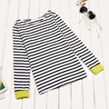 New Women's Shirt Tops O-Neck Long Sleeve Black and White Striped T  Shirts Women Cotton Shirt Clothing High Quality