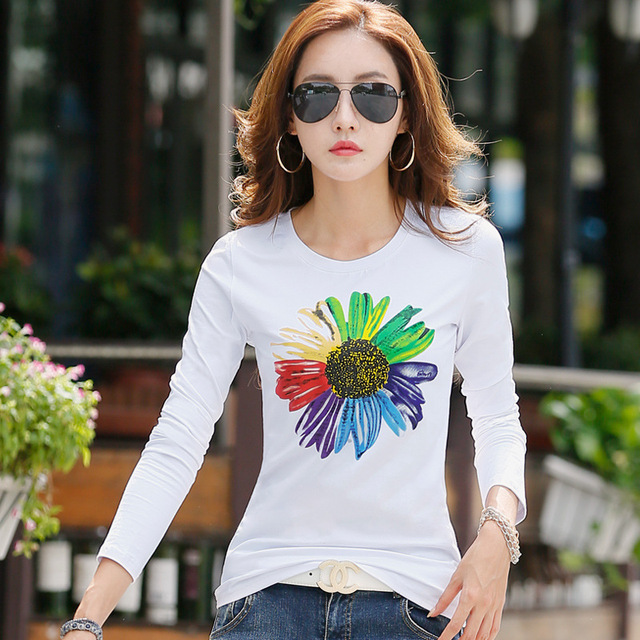 New 2017 T Shirt Women Long Sleeve Cotton T-shirts For Women Fashion Print Female T-shirt Casual Winter Tops Tees Camisetas