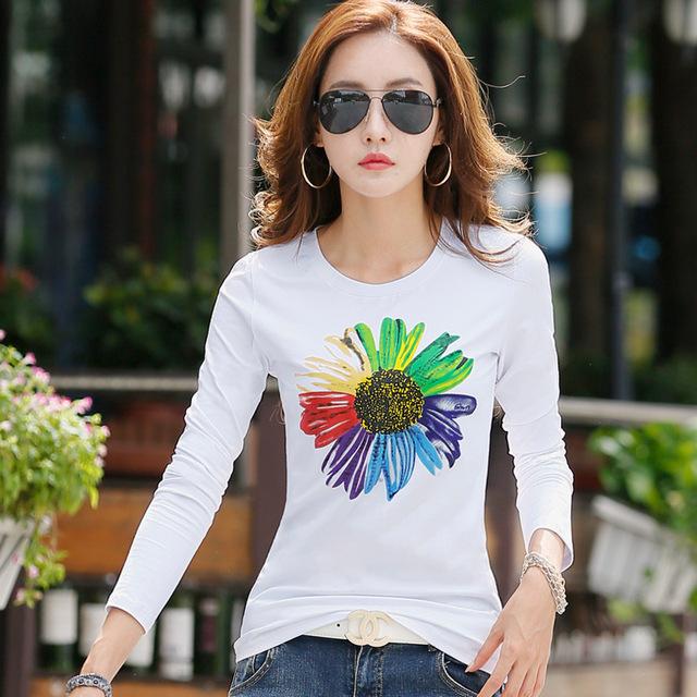 Nuevo 2016 T Shirt Mujer de Manga Larga de Algodón Camisetas Para mujeres de La Manera Impresión Femenina Camiseta Más El Tamaño XXL Tops Invierno Tees