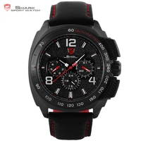 Tiger Shark Sport Watch Luxury Brand Men Red 6 Hands Quartz Date Hrs Casual Leather Relogio