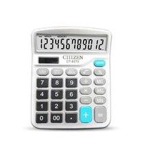 12-разрядный калькулятор Рабочий стол большими кнопками финансовых Бизнес Бухгалтерия инструмент белого цвета большие пуговицы аккумуляторная батарея и солнечной энергии