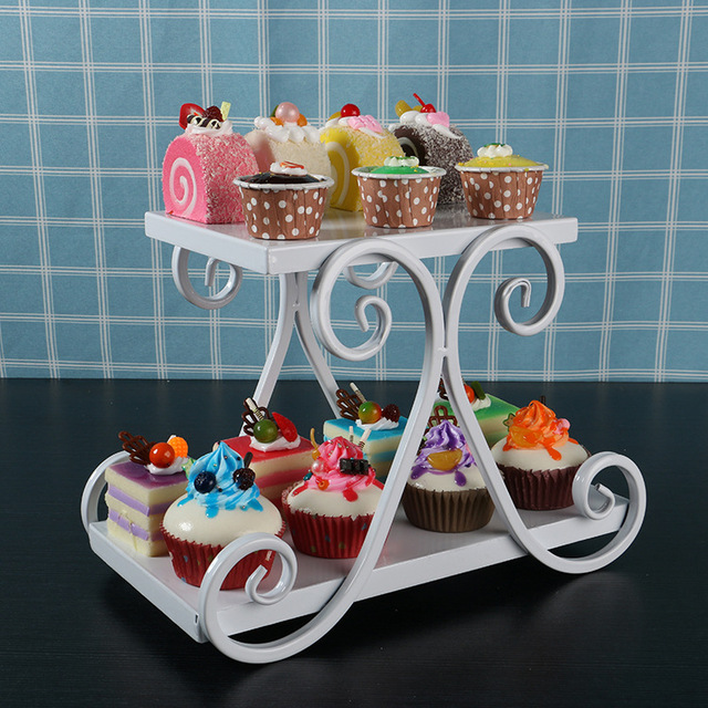 Very 2 Tier Metal Cake Plate Stand Cupcake Fruit Holder Rack Wedding  SY65
