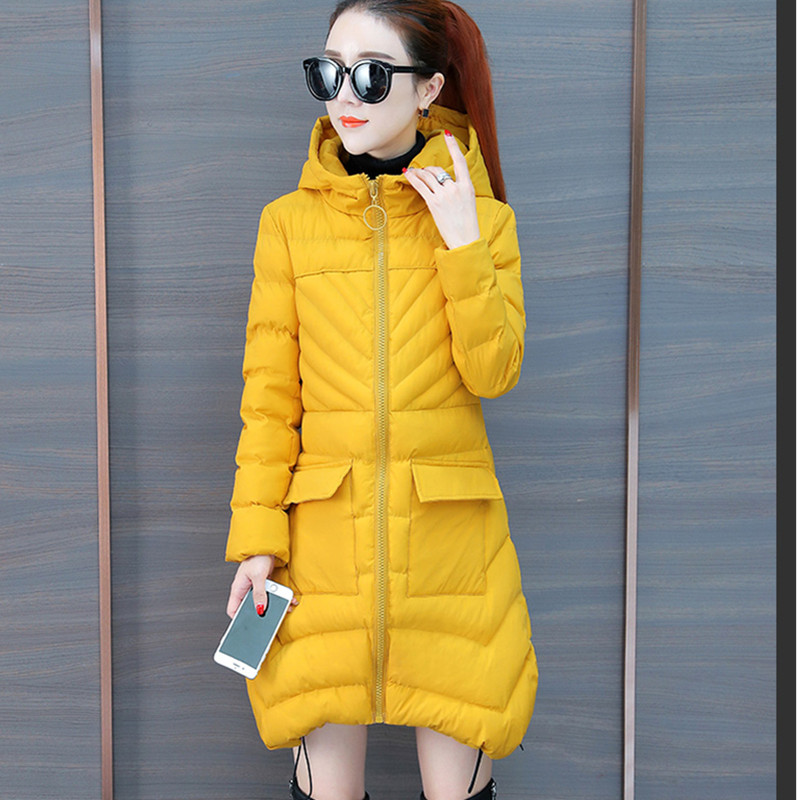 Coton black Red Confortable Unie Épaississement Yellow rust rembourré Veste D'hiver Simple purple blue Femelle A536 Couleur À Yummycook Vêtements Capuche Moyen Long Coton nvwm0N8