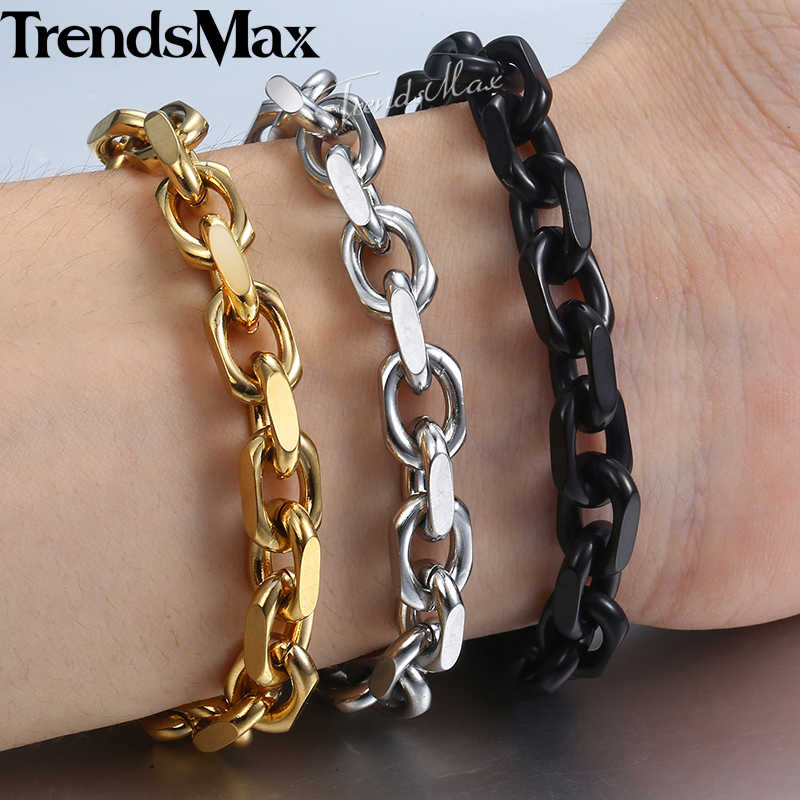 "9mm Bracelet for Men Stainless Steel Cable Link Chain Bracelets 2018 Fashion Mens Jewelry Gold Black Silver TO Clasp 7-11"" KBB11"
