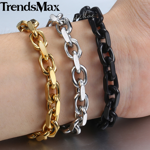 9mm Bracelet For Men Stainless Steel Cable Link Chain Bracelets 2018