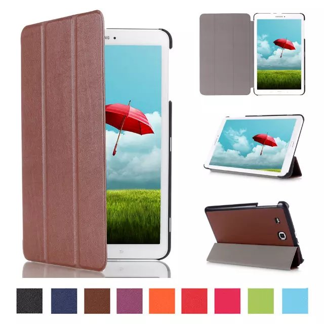 Ultra Slim Lightweight SmartCover Stand Case For 2015 Released Samsung Galaxy Tab E 9.6-Inch SM-T560/SM-T561 Tablet