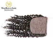 """4x"""" шелковая основа для волос, натуральные малайзийские волосы, глубокая волна, натуральный черный, 130% плотность, завязанные вручную с детскими волосами"""