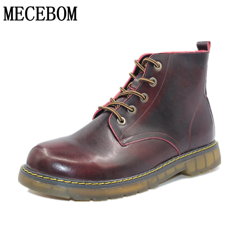 Men boots new fashion winter ankle boots high-top lace-up men leather shoes quality botas moccasins size 38-44 8505m  lozoga new men shoes fashion boots ankle 100