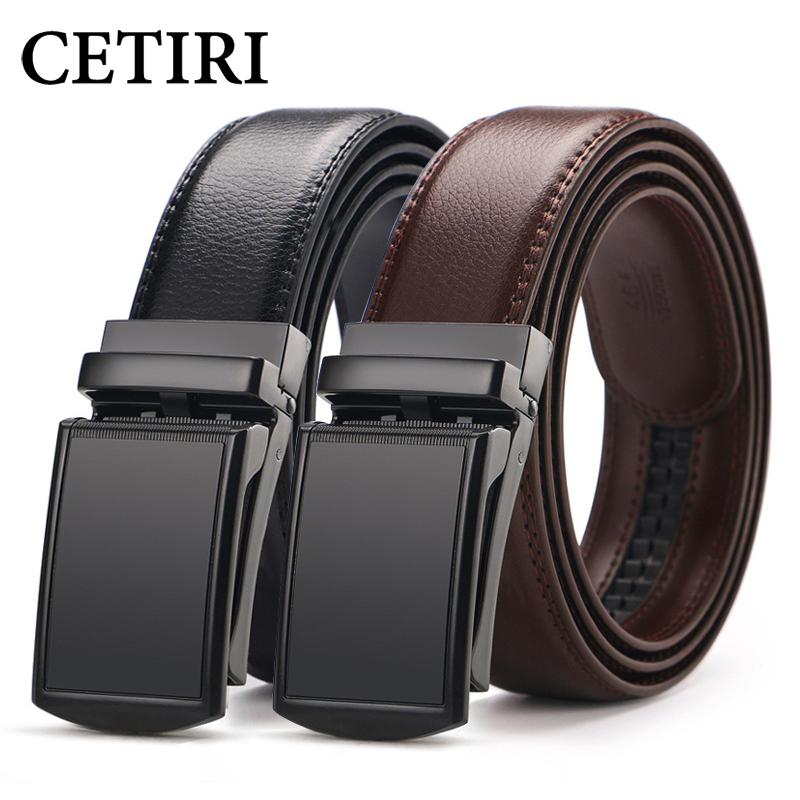 CETIRI Men's Ratchet Click Belt Genuine Leather Dress Belt For Men Jeans Holeless Automatic Sliding Buckle Black Brown Belts Cin