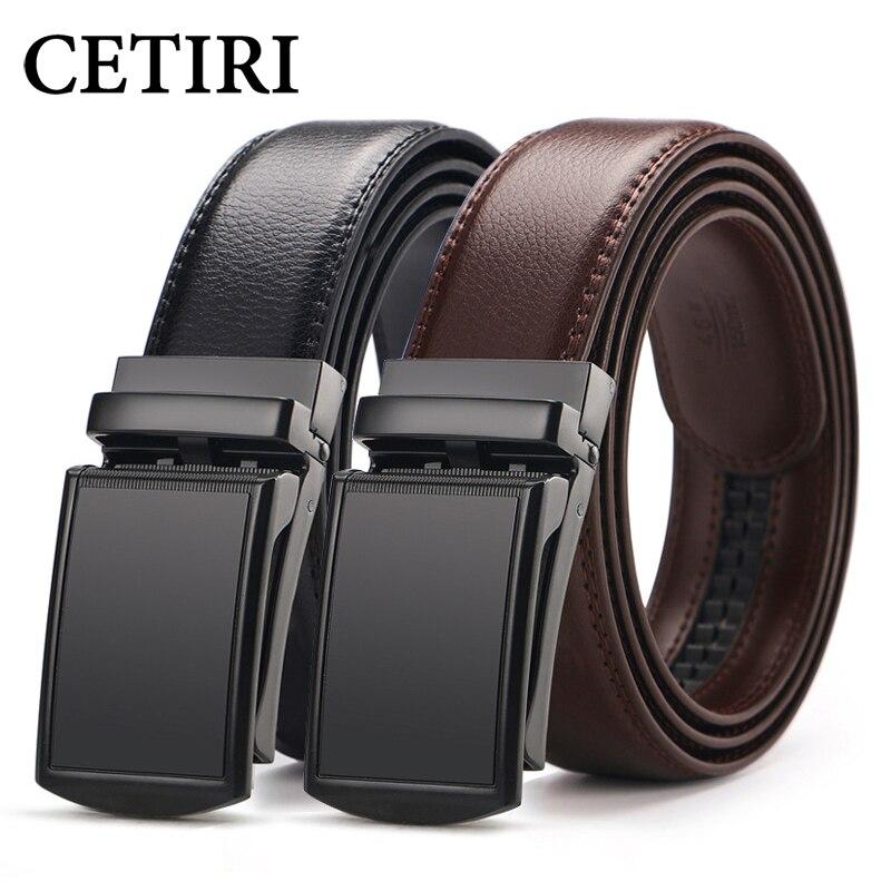 CETIRI hombres trinquete cinturón de correa de vestido de cuero para los hombres jeans holeless corredera automática hebilla negro Cinturón marrón cin