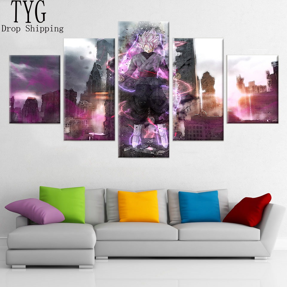 Wall Art Paintings Dragon Ball Posters 5 Pieces HD Prints Pictures Modular Canvas Paintings Cartoon Anime Living Room Home Decor