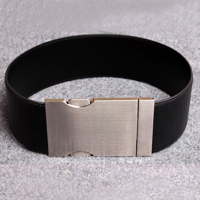 2016 Fashion brand PU leather wide belts girdle women ultra wide cummerbund punk big metal buckle elastic belt dress Accessories