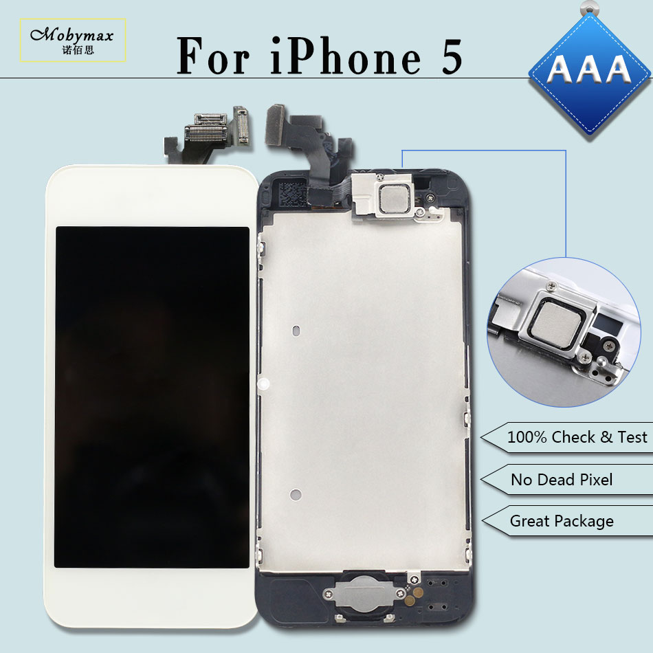 Mobymax Display for iPhone 5 A1428 A1429 LCD Ecran Pantalla Module Touch Screen Digitizer Full Assembly+Home Button+Front Camera
