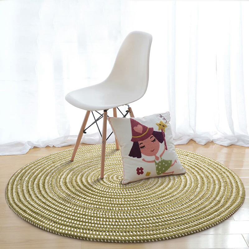 EHOMEBUY Round Carpet Green Striped Foot Mat Home Hotel Decor Living Room Floor Protection Round Rug Tatami Mat New Design