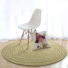 EHOMEBUY Round Carpet Green Striped Foot Mat Home Hotel Decor Living Room Floor Protection Rug Tatami New Design