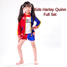 Kids Harley Quinn Costume Suicide Squad Quin Cosplay T Shirt Jacket Clothing Set Halloween For Girls