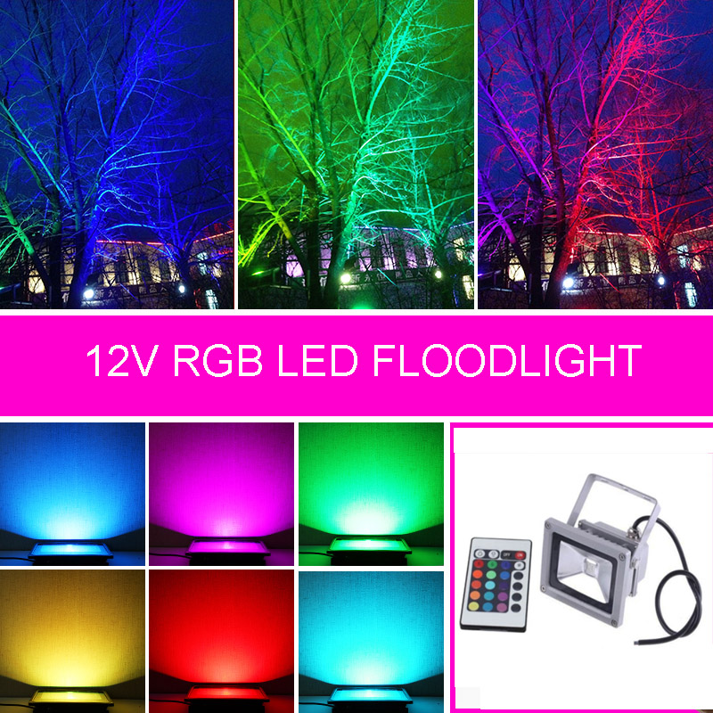 12V RGB LED FloodLight 10W 20W 30W 50W Reflector LED Flood Light Waterproof IP65 Spotlight Wall Outdoor Lighting