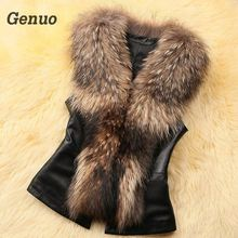 Genuo Leather Jcket Faux Fur Vest Coat Women Winter Sleeveless Fox Collar Jacket Streetwear