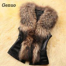 Genuo Leather Jcket Faux Fur Vest Coat Women Winter Sleeveless Faux Fox Fur Collar Vest Winter Jacket Coat Women Streetwear недорого