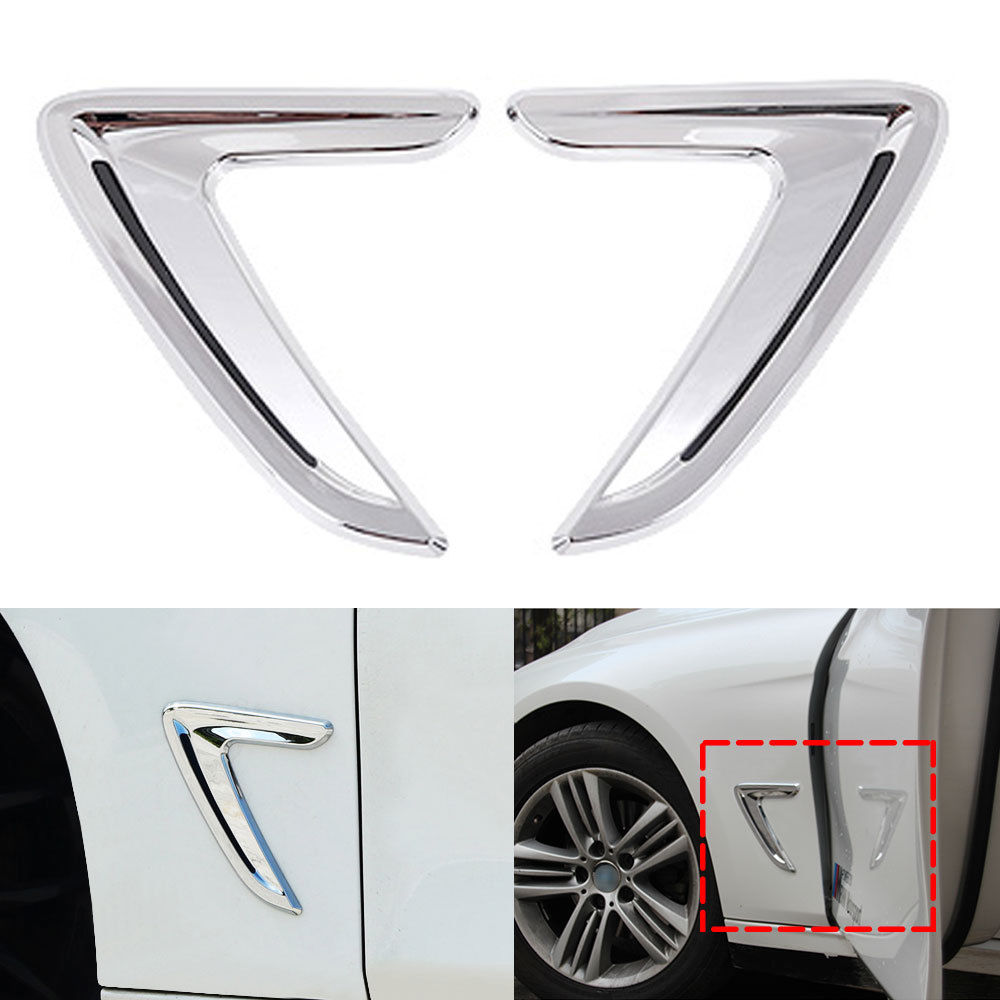 BBQ@FUKA For BMW 3 Series F30 2013-2017 Chrome car sticker Side Wing Air Fender Intake Flow Vent Cover car styling moulding deco for bmw x5 f15 2014 2015 abs side door air flow fender intake vent cover trim black