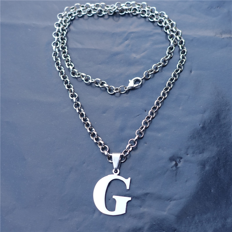 fashion men letter 50cm link chain stainless steel alphabet g pendant necklace jewelrychina