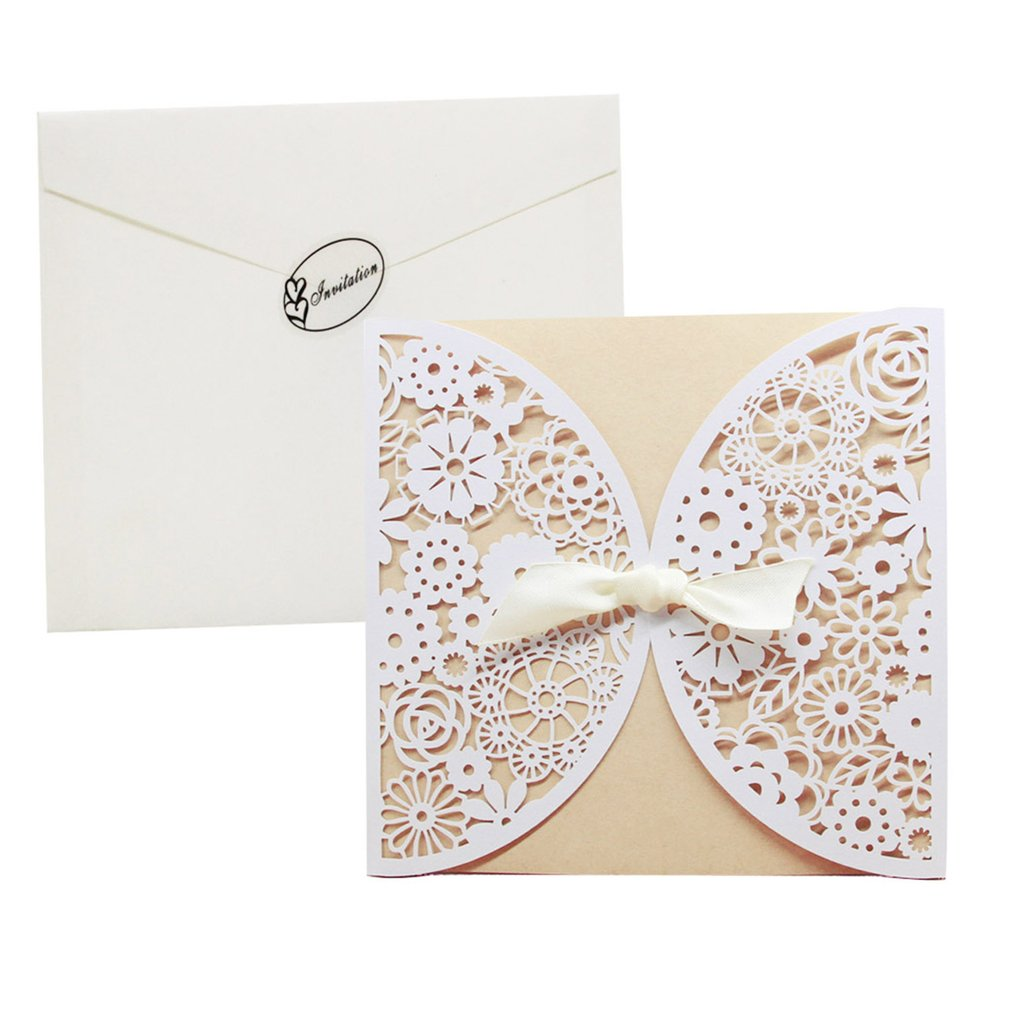Beautiful Invitations Laser Cutting Cards Hollow Out Bowknot Wedding ...