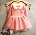 2017 Crianças Coreano Vestido Pérola do Diamante 3-7Year Meninas Do Vestido Do Bebê Roupa Dos Miúdos, vestidos de menina