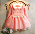 2017 Kids Dress Korean Pearl Diamond Baby Girls Dress 3-7Year Kids Clothes ,vestidos de menina