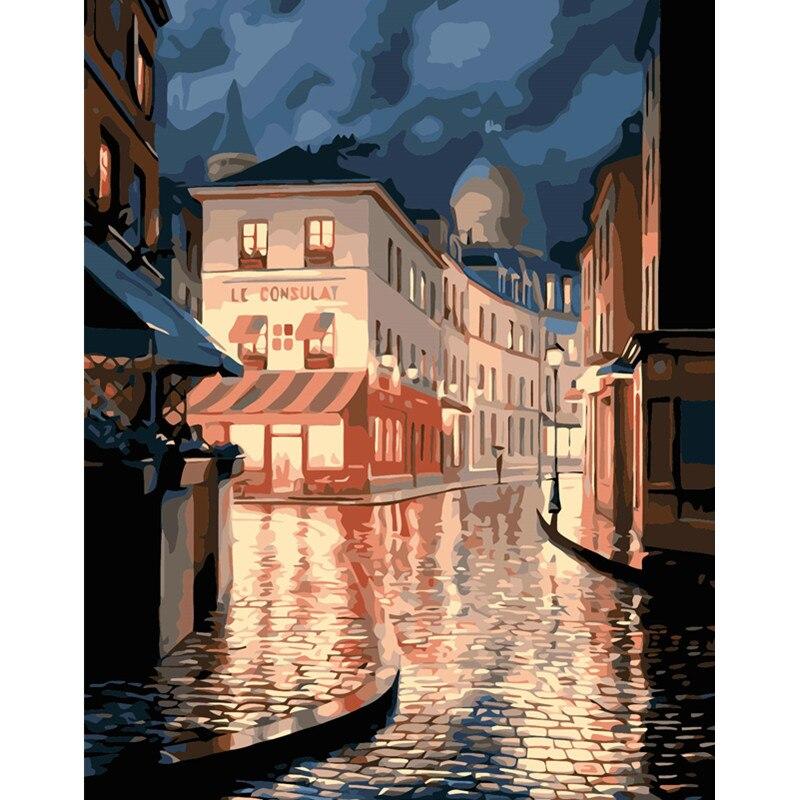 La Notte Dopo La Pioggia Paesaggio Immagine Disegno Salotto Acrilico Regali Unici Di Lino Decorazione Di Arte 40x50 Cm Lussuoso Nel Design