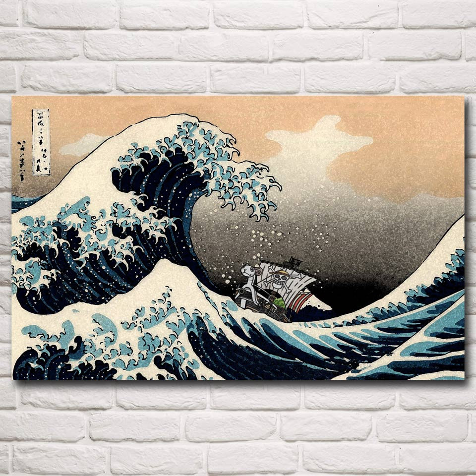 One Piece D. Luffy Hokusai Waves The Great Wave off Kanagawa Art Silk Poster Home Decor Printing 12x19 22x35 Inch Free Shipping